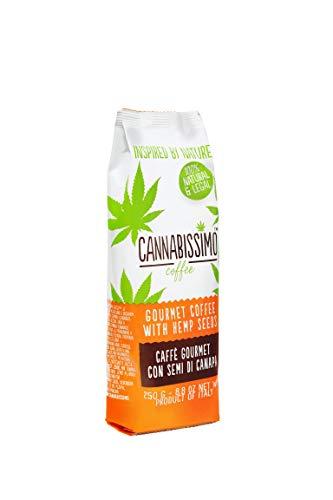 Cannabissimo Coffee, caffè macinato con semi di canapa. Sacchetto da 250 g con valvola salva aroma
