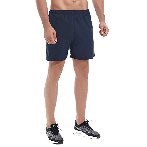 LAZALAM Men's 5' Running Workout Shorts Quick Dry Mesh Liner Athletic Shorts with Back Zipper Pockets (Navy, M)