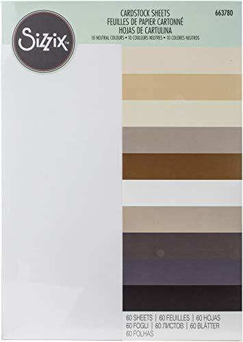 Sizzix Surfacez-Fabricación de Hojas de cartulina Esenciales 60PK (10 Colores neutros), Neutrals, Talla única