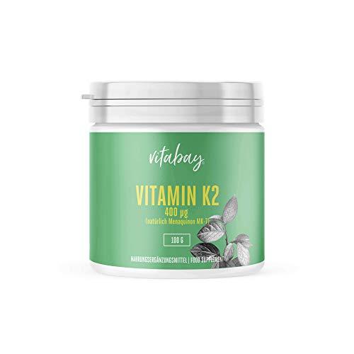 Vitamina K2 con dextrosa MK7 400 mcg - 99,99% de forma trans - Cis 0% - Polvo vegano 365 porciones