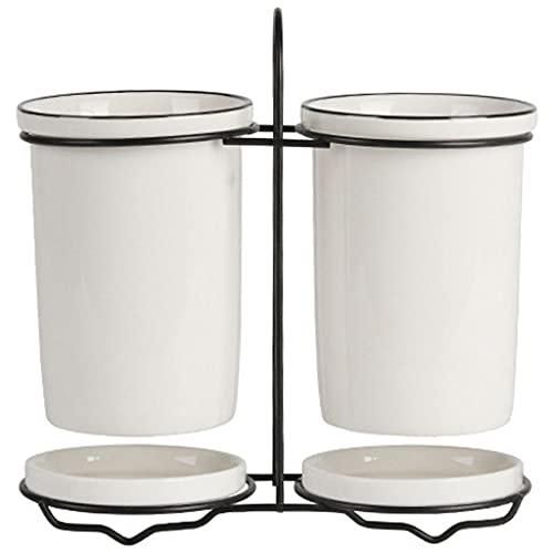 MagiDeal Portaposate in Ceramica con Vassoio in Metallo per scolapiatti Coltelli Cucchiai Posate Posate Utensile da Cucina Contenitore per riporre
