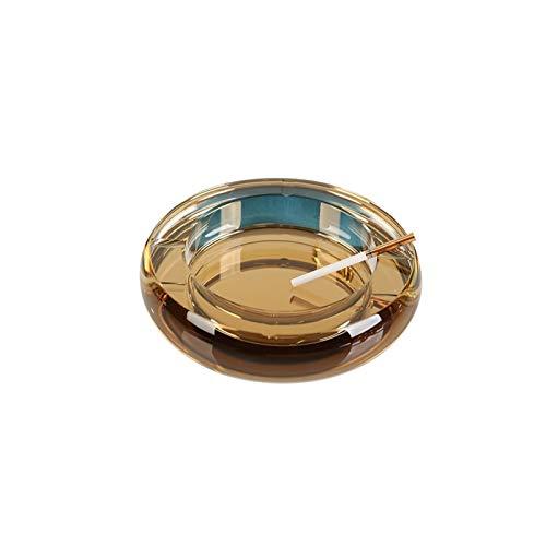 XDYNJYNL Vidrio Durable Resistente al desgaste A prueba de cenizas volantes Sin cubierta Cenicero Portátil Antideslizante Material de cristal lavable con agua Adecuado para almacenamiento de escritori