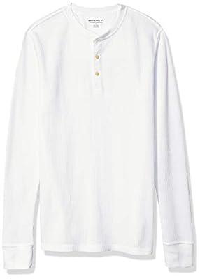 Amazon Essentials Men's Slim-Fit Long-Sleeve Waffle Henley, White, Medium