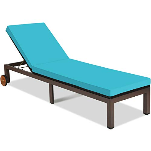 Lares & Penates Black Rattan Wicker Adjustable Modern Outdoor Chaise Lounge Chair with Wheels and Blue Cushion for Poolside, Deck Cushioned Sunbed, Sun Lounger Chairs, Patio Furniture