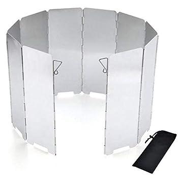 Xinlie Pare-Vent Pliable Rechaud Aluminium Portable de 10 Assiettes de Pliage Rechaud de Camping Ecran du Vent en Plein Air pour Le Camping de Pique-Nique Argent