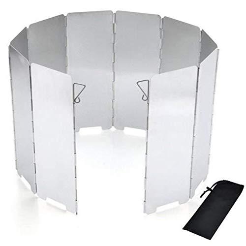 Xinlie Windschutz Gaskocher Faltbar Windschutz Campingkocher mit 10 Lamellen aus Aluminium, Leichter Faltbarer Windschutz, Windschutzscheibe Windscreen für Camping Kocher Outdoor Grill