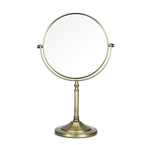 Miroir de maquillage LIHY grossi et éclairé, Double Face, Rond (Plan Double de 8 Pouces) (Couleur : Green Bronze)