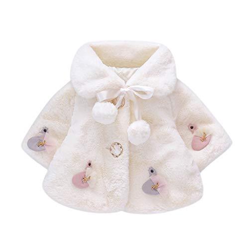 Livoral Baby Winterjacke Warmer Mantel der winddichten Jacke des gefälschten Pelzmantels der Kleinkindbabywinterkarikatur(Weiß,12-18 Monate)