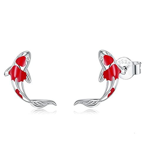 DJDEFK Aretes 925 Plata esterlina Afortunado Tachuelas de oído de Moda joyería de Plata Regalo de Fiesta de Chicas Pendientes de Aro