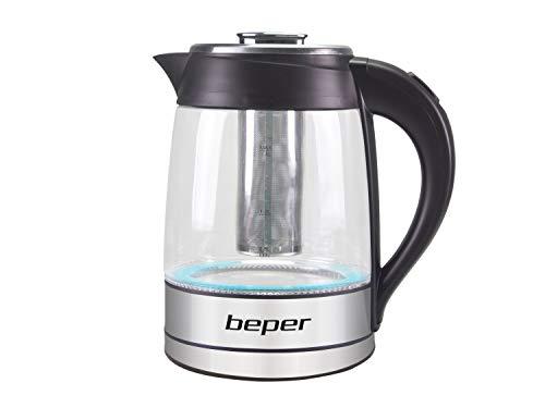 BEPER BB.103 Bouilloire Electrique LED et Filtre à Thé, 2200 W, Acier