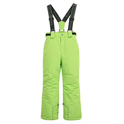 Wowu Boys' Girls Waterproof Breathable Polyester Snowboard Ski Pants Youth Snow Pants Thick Green 4