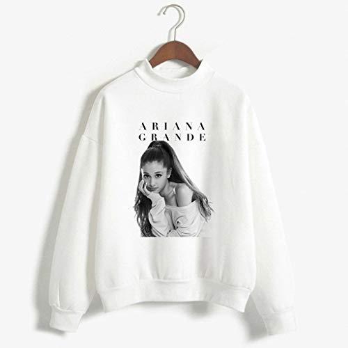 Xdsy Ariana Grande - Sweat-Shirt Confortable à Manches Longues et col Ras du Cou,White-1,S