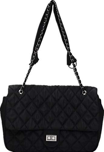 Ladies Black Stitch Retro Large-Capacity Bag Ladies Bag Wild Simple Shoulder Bag Handbag Nylon Rhombus Chain Bag-Black_38*9 * 26CM