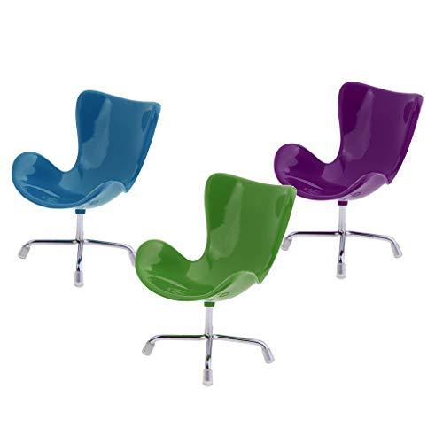 Hellery 3 Pezzi 1: 6 Swan Chair per Blythe BJD Dolls Room Life Scenes Decor