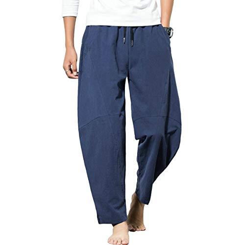 FTIMILD Mens Linen Pants Casual Elastic Waist Drawstring Yoga Beach Trousers Navy
