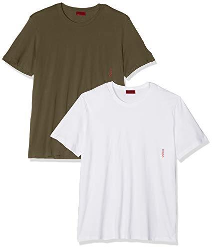 HUGO Herren RN Twin Pack T-Shirt, Grün (Dark Green 301), Large (Herstellergröße: L) (2er