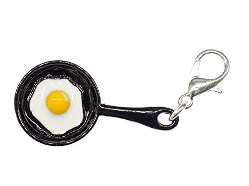 Miniblings freír Huevo Frito sarten sarten Encanto negroz Mini - joyería Hecha a Mano de Plata de la Manera Plateado I Colgantes - Colgante Pulsera - Colgante para la Pulsera
