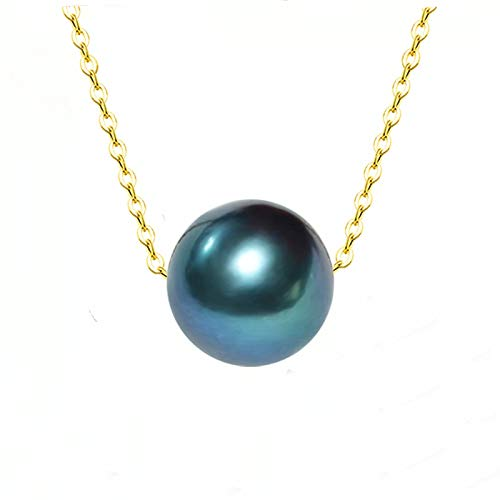 XTR Real Tahitian Black Pearl Pendant Necklace 8-9mm Seawater Pearl 18K Gold Chain Women's Fine Jewelry D346