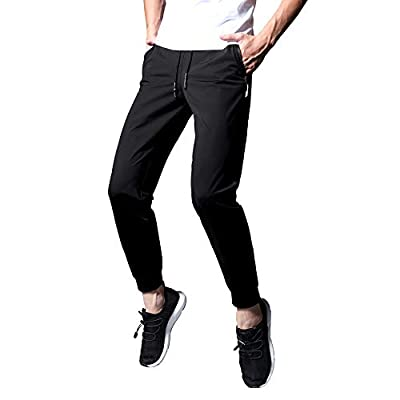 ENGEALLRR Men's Training Joggers Quick-Dry Breathable Hiking Sweatpants Lightweight Workout Pants with Zipper Pockets(GX3509BLACK-S)