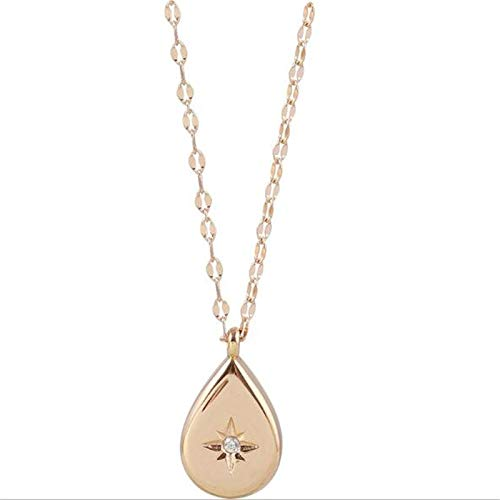 xtszlfj 925 Sterling Silber Stern Markise Drop Halskette Einfaches Design Cool Wind Schlüsselbein Kette Weiblich