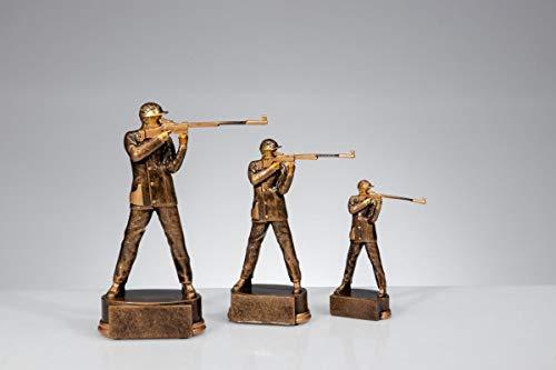 Henecka Schießsport-Pokal, Resinfigur Schütze Herren, altgold, mit Wunschgravur, Größe 13 cm