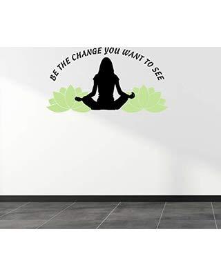 Pegatina Promotion Be The Change You Want to See Yoga 50cm Autoaufkleber,Wandtattoo, Aufkleber, Waschanlagenfest, Profi-Qualität, Decal,Sticker