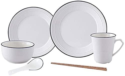 JXH Juego de platos de cena, 6 piezas, juego de cena simple de porcelana blanca con líneas, juego de combinación de vajilla, incluye 1 pieza de plato cuchara y palillos para 1 persona, Euro Ceramica