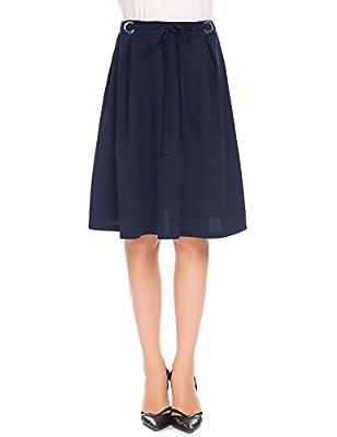 Women High Waist A-line Knee Length Pleated Skirt with Drawstring