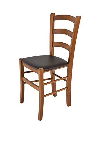 Tommychairs - Stuhl Venice für Küche und Esszimmer, Struktur aus lackiertem Buchenholz im Farbton helles Nussbraun und gepolsterte Sitzfläche mit Kunstleder in der Farbe Mokka bezogen