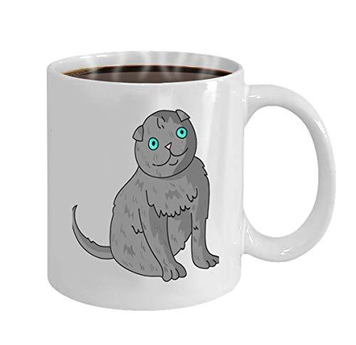 Taza de cerámica Taza blanca personalizada Taza de café de 11 oz O taza de té Regalo Icono de pliegue escocés Estilo de dibujos animados Aislado Blanco bac