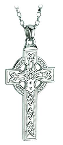 Biddy Murphy Mens Celtic Cross Necklace Sterling Silver Single Sided 20 Inch Chain Made in Ireland