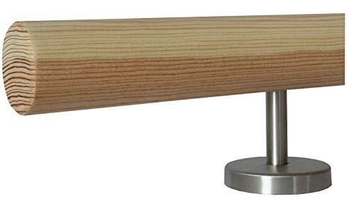 Montagefertiger unbehandelter Lärche Handlauf (auch für außen geeignet) Ø 42 mm mit gerade Edelstahlhalter und verschiedenen Endstücken/Länge: 300mm mit 2 Halter- Enden: gefast