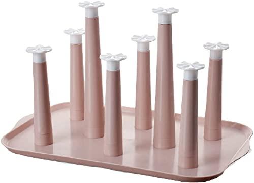 LXXL uchwyt na kubek Uchwyt do suszenia kubka, plastikowa taca o osiem kubków hakowa stojak do przechowywania, półka do przechowywania kubka domowe dostawy kuchni uchwyt na kubek (Color : Pink)