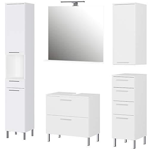Germania 5-tlg. Badezimmer-Set 8550-84 GW-Arvada, bestehend aus Waschbeckenunterschrank, Spiegel, Unterschrank, Hängeschrank und Hochschrank, in der Farbe Weiß