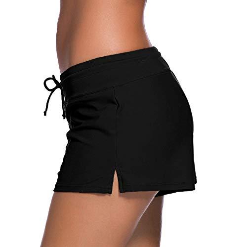 Alex Vando Womens Swimwear Shorts Beach Boardshort Trunks,Black,L