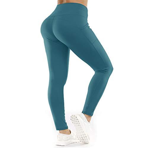DISCUNTL Pantalon de course à la taille haute extensible de l'Europe et des hanches sexy Rose Pantalon de yoga Femme Poches latérales - Bleu - S