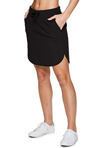 RBX Active Women's Woven Drawstring Waist Golf/Tennis Longer Length Athletic Skort with Attached Bike Shorts and Pockets