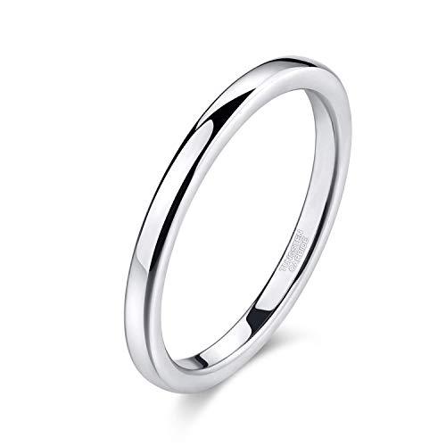 Titaniumcentral Silber Damen Ringe aus Wolframcarbid Hochzeit Ehering Verlobungsringe 2mm