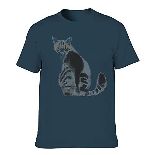 Camiseta de manga corta para hombre, diseño de acuarela y gato azul marino XL