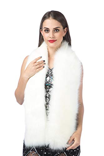 Lucky Leaf Women Luxurious Large Winter Faux Fur Scarf Wrap Collar Shrug for Lady Wedding Dinner Party (L-White)