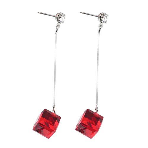 Ruby569y Pendientes colgantes para mujeres y niñas, con diamantes de imitación cúbicos transparentes para mujer, color rojo