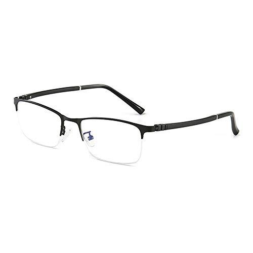 LASTARTS Business Einfache halbrandbrille Metall Anti-blaue Brille für Männer Glasrahmen Transparente Gläser (Farbe : Schwarz)