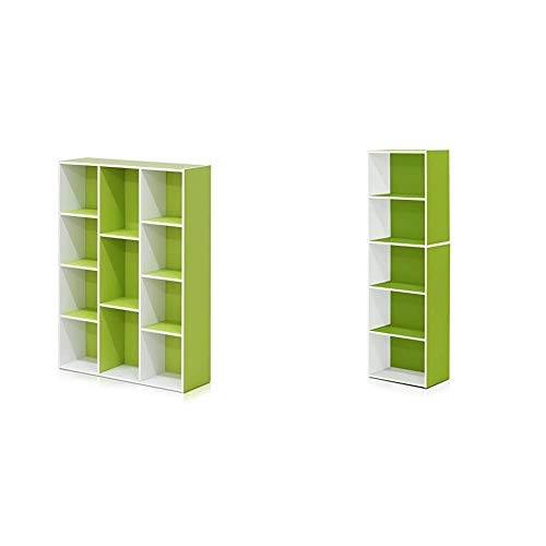 FURINNO 11107WH-GR 7 Reversible, 11-Cube, White Green & 5-Tier Reversible Color Open Shelf Bookcase , White/Green 11055WH/GR