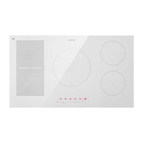 Klarstein Delicatessa Hybrid - Placa de cocina, Placa de inducción, Para empotrar, 7000 W, Panel táctil, Flexzone, Sensor de sartenes, Autoapagado, Vitrocerámica, 90 cm, 5 zonas, Blanco