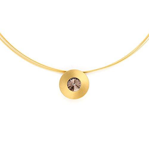 Heideman Halskette Damen Lumen aus Edelstahl Gold farbend matt Kette für Frauen mit Swarovski Stein Kristall grau im Fantasie Edelsteinschliff