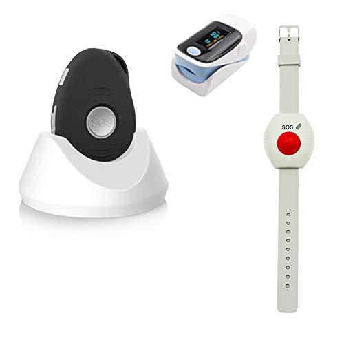 Premium Senioren Notruf-Funk inkl. Kreislauf-Überwachung/für unterwegs und zuhause/Pflegeruf-Set/inkl. Halsband u. Ladestation/spritzwassergeschützt