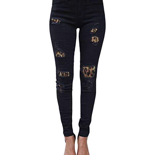 Damen Plus Size Röhrenjeans mit hoher Taille Solid Leopard Patchwork Unregelmäßige gerippte Löcher Bleistifthose Stretch Slim Hose
