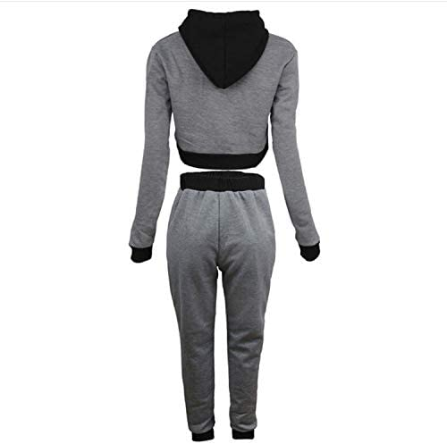 interesting Hooded Short Sweater + Color Matching Trousers Casual Two-piece Suit, Size:L gift