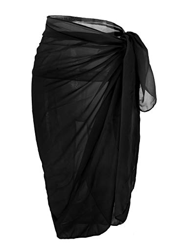 CHIC DIARY Women Chiffon Pareo Beach Wrap Sarong Swimsuit Scarf Cover Up for Vacation (Pure Black)
