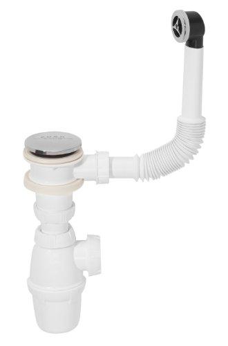 Siphon mit Ablaufventil PushUP und Überlaufgarnitur für Waschbecken Modell Quick Clac
